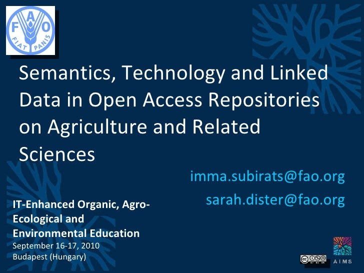 Semantics, technology and linked data in open access repositories on agriculture and related sciences