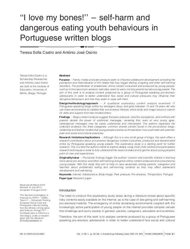 ''I love my bones!'' – self-harm and dangerous eating youth behaviours in Portuguese written blogs ´ ´ ´ Teresa Sofia Castr...