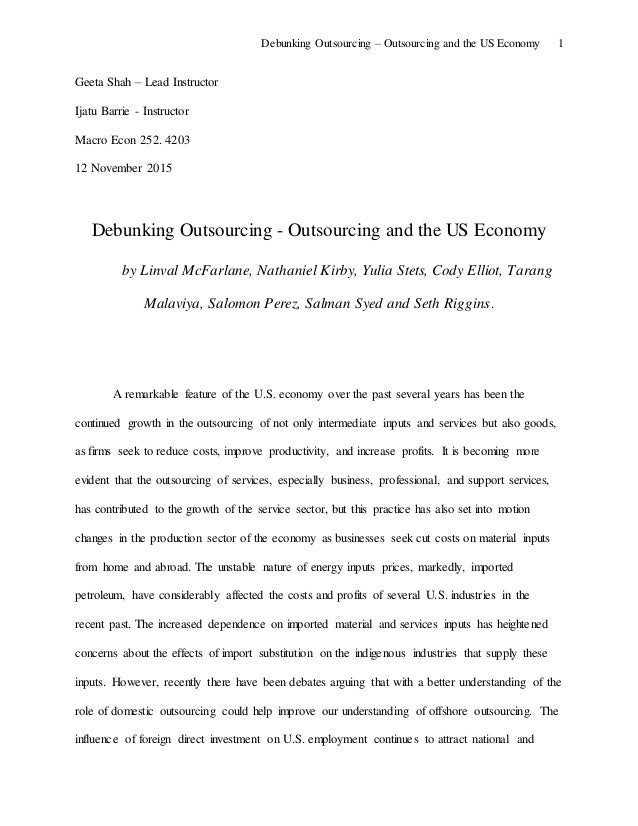 Buy research papers online cheap effects of outsourcing on companies employees and the economy
