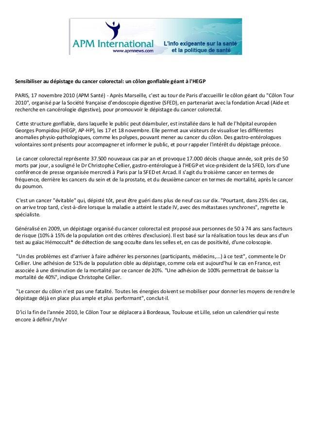 Sensibiliseraudépistageducancercolorectal:uncôlongonflablegéantàl'HEGP  PARIS,17nove...