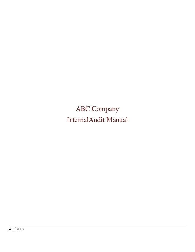 ABC Company         InternalAudit Manual1 Page