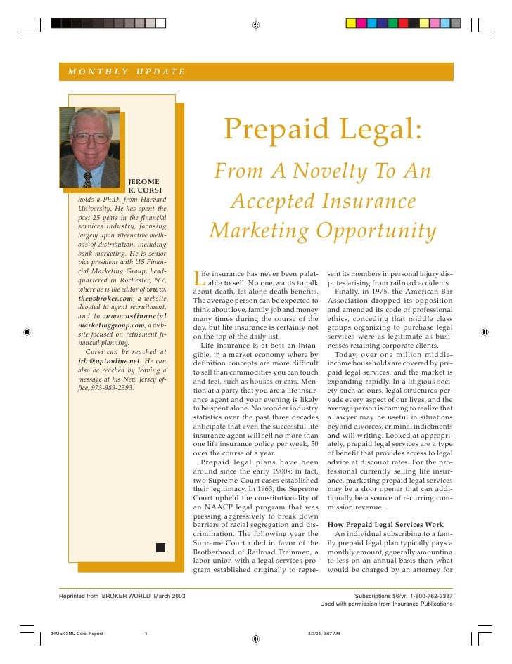 MONTHLY UPDATE                                                        Prepaid Legal:                        JEROME        ...