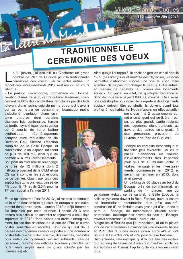 172 - Lettre du Maire Janvier bis 2013:Lettre du Maire 22/01/2013 15:23 Page 1  172 - Janvier Bis - 2013  T R A D IT IO N ...