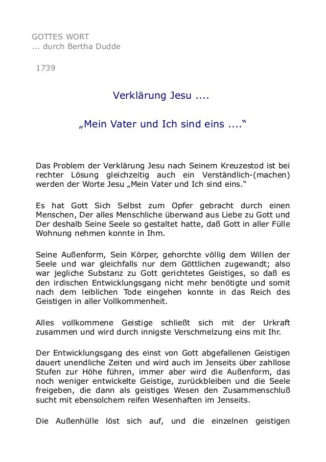 """GOTTES WORT ... durch Bertha Dudde 1739  Verklärung Jesu .... """"Mein Vater und Ich sind eins ....""""  Das Problem der Verklär..."""
