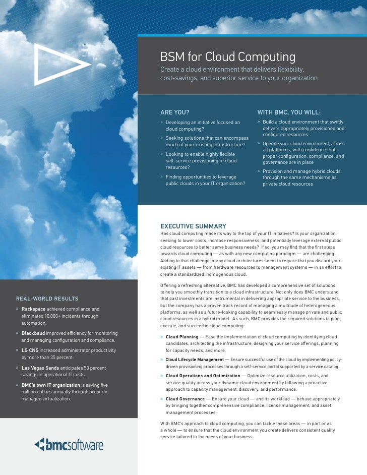 BSM for Cloud Computing                                                  Create a cloud environment that delivers flexibil...