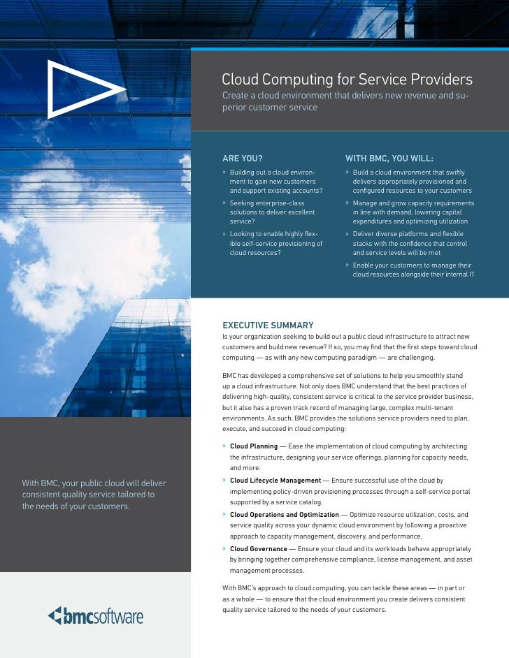 Cloud Computing for Service Providers                                            Create a cloud environment that delivers ...