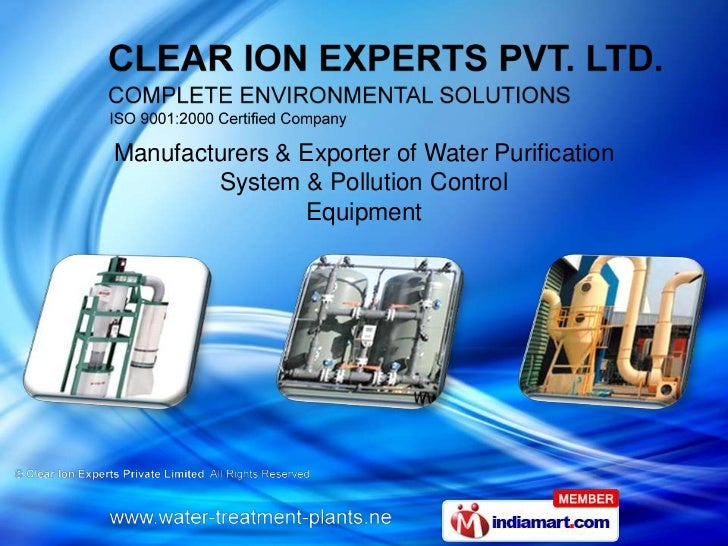 Manufacturers & Exporter of Water Purification        System & Pollution Control                Equipment
