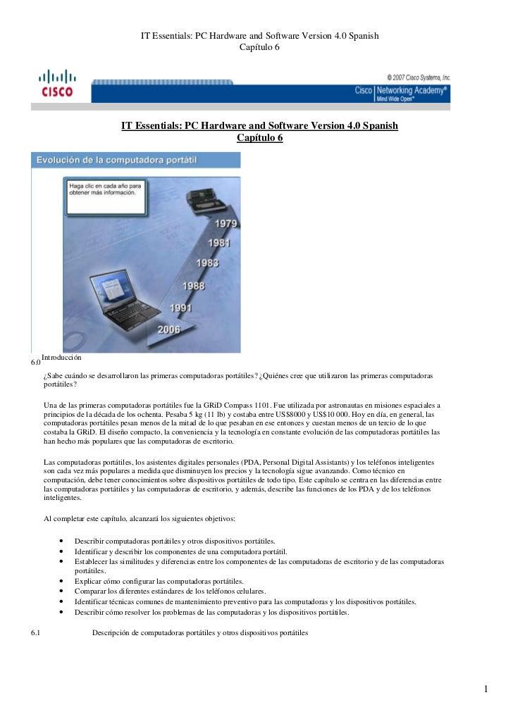IT Essentials: PC Hardware and Software Version 4.0 Spanish                                                              C...
