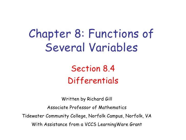 Chapter 8: Functions of      Several Variables                      Section 8.4                     Differentials         ...