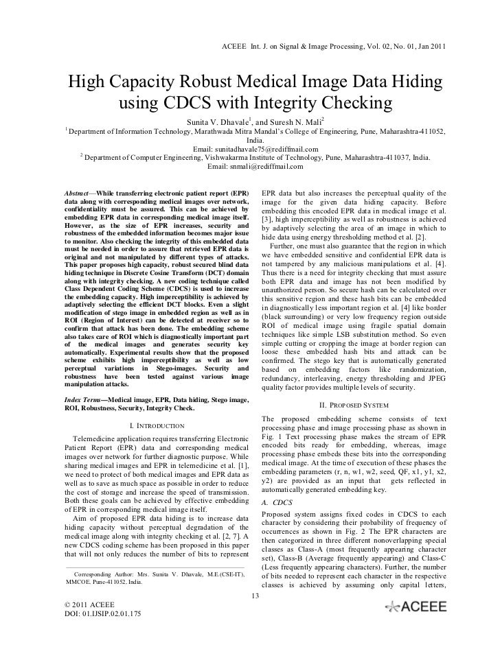 ACEEE Int. J. on Signal & Image Processing, Vol. 02, No. 01, Jan 2011    High Capacity Robust Medical Image Data Hiding   ...