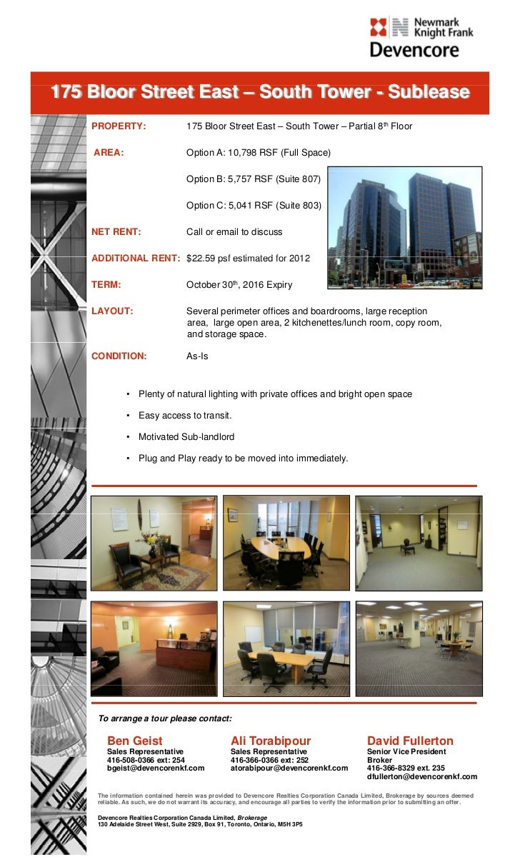 175 Bloor Street E t – S th Tower - S bl    Bl    St   t East South T       Sublease    PROPERTY:                       17...