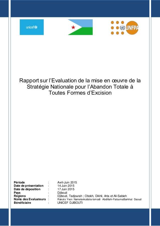 Rapport sur l'Evaluation de la mise en œuvre de la Stratégie Nationale pour l'Abandon Totale à Toutes Formes d'Excision Pé...