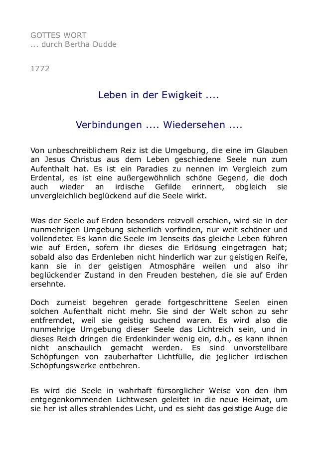 GOTTES WORT ... durch Bertha Dudde 1772 Leben in der Ewigkeit .... Verbindungen .... Wiedersehen .... Von unbeschreibliche...