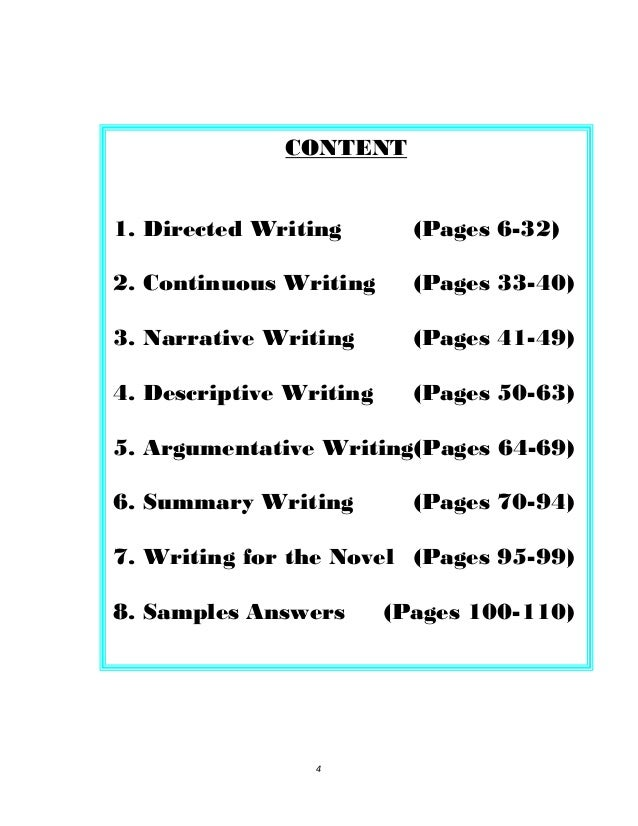 Continuous words for essay
