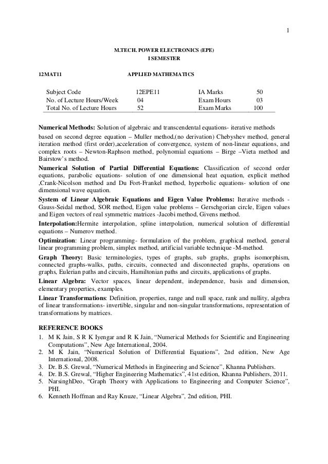 1 M.TECH. POWER ELECTRONICS (EPE) I SEMESTER 12MAT11 APPLIED MATHEMATICS Subject Code 12EPE11 IA Marks 50 No. of Lecture H...