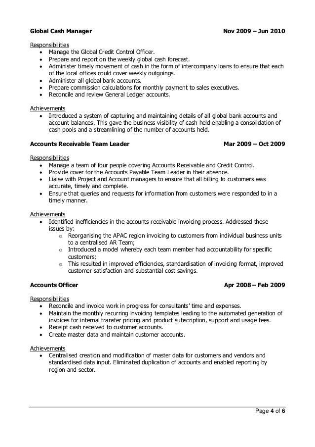 resume cash manager cash of cash flows manager resume