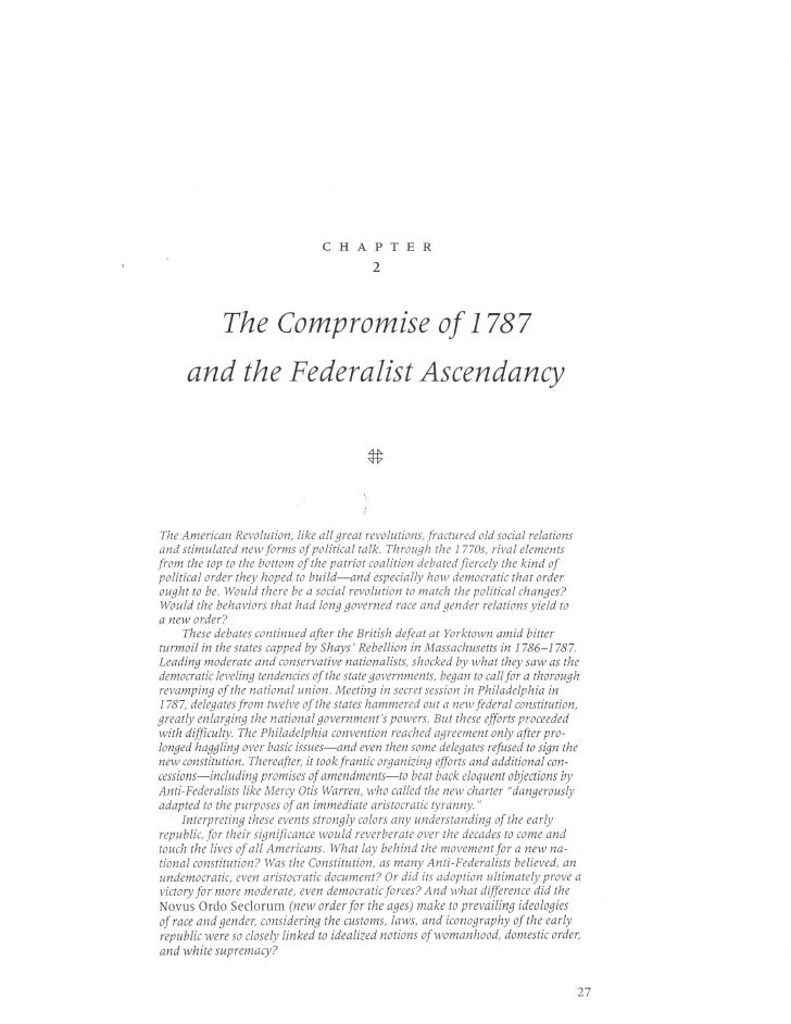 1787 Compromise And Federalist Ch2