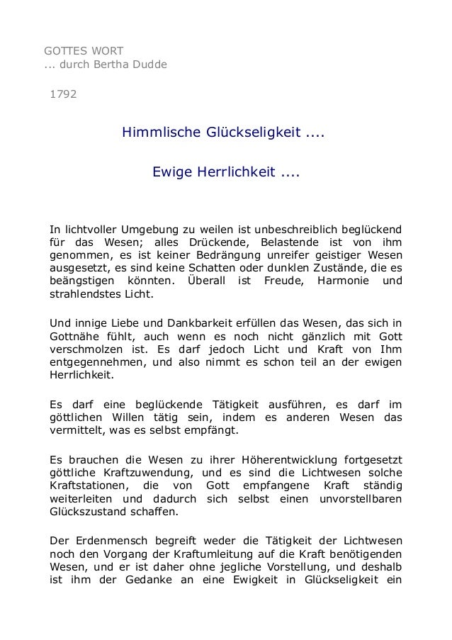 GOTTES WORT ... durch Bertha Dudde 1792  Himmlische Glückseligkeit .... Ewige Herrlichkeit ....  In lichtvoller Umgebung z...