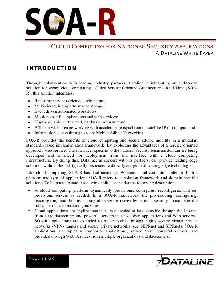 Cloud Computing for National Security Applications
