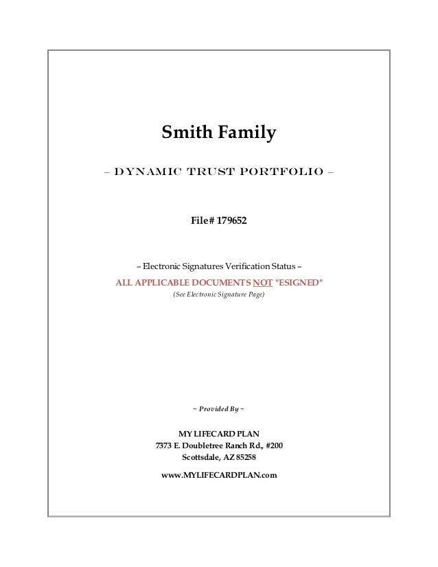 Smith Family– DYNAMIC TRUST PORTFOLIO –                    File# 179652    – Electronic Signatures Verification Status – A...