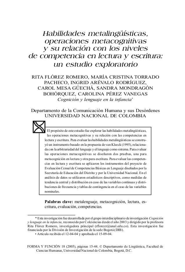 FORMA Y FUNCIÓN 18 (2005), páginas 15-44. © Departamento de Lingüística, Facultad de Ciencias Humanas, Universidad Naciona...
