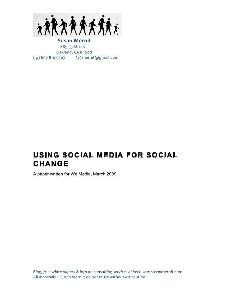 Using Social Media for Social Change