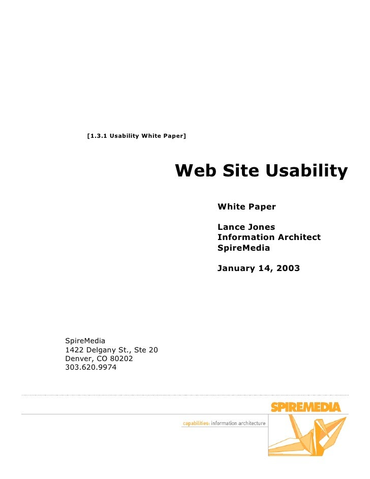 [1.3.1 Usability White Paper]                                   Web Site Usability                                      Wh...
