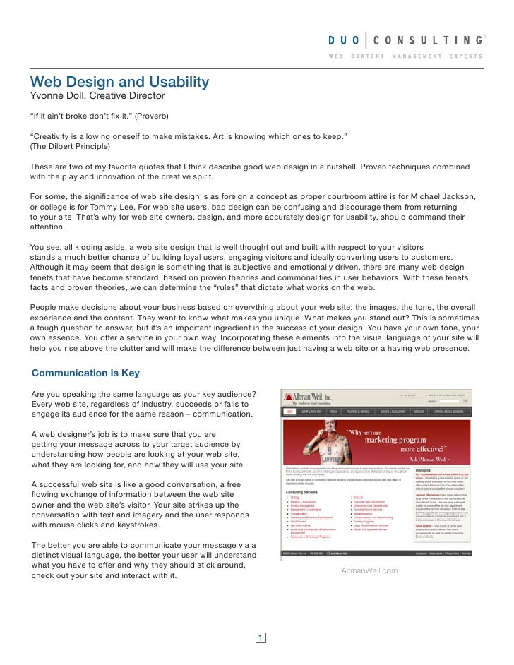 """Web Design and Usability Yvonne Doll, Creative Director  """"If it ain't broke don't fix it."""" (Proverb)  """"Creativity is allow..."""
