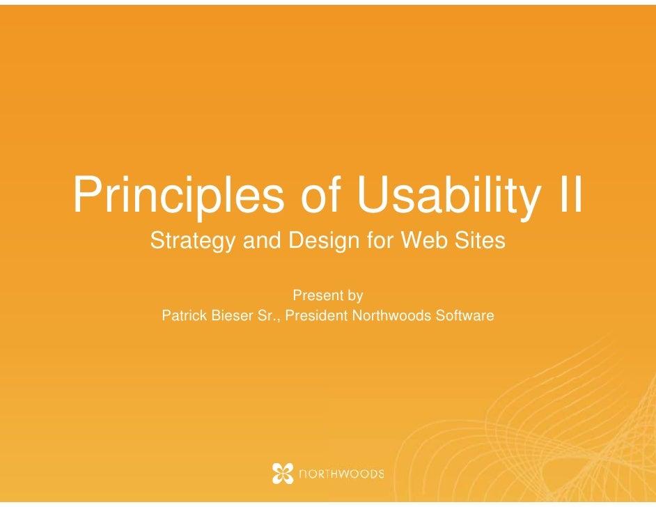 Principles of Web Usabilty II - Fall 2007