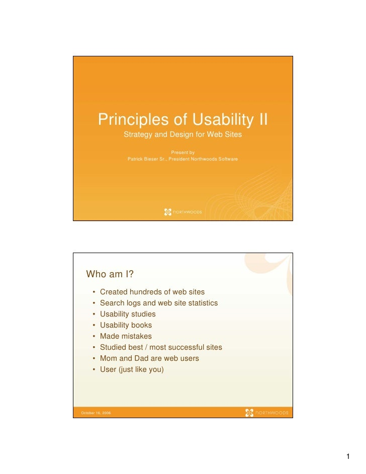 Principles of Usability II                    Strategy and Design for Web Sites                                           ...