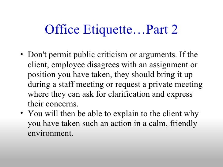 Office Manners And Etiquettes Office Etiquette…
