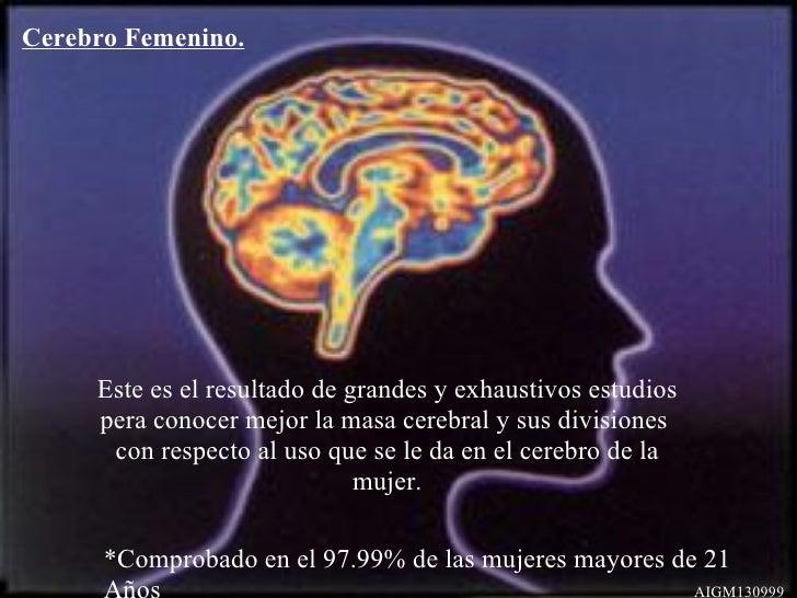 Cerebro Femenino. Este es el resultado de grandes y exhaustivos estudios pera conocer mejor la masa cerebral y sus divisio...