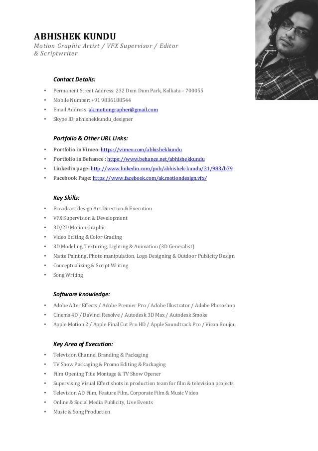 resume format vfx artist bestsellerbookdb