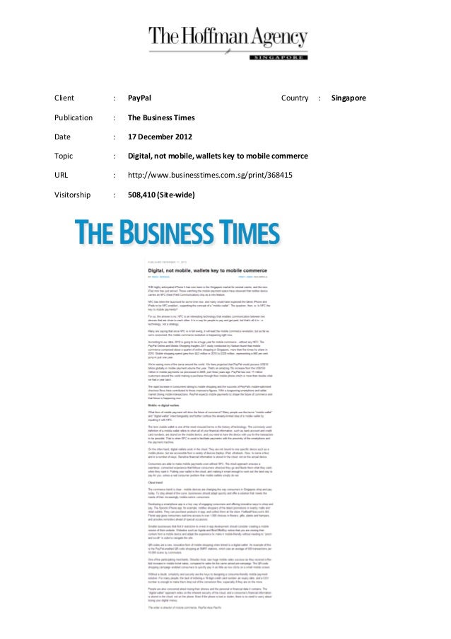 Client        :   PayPal                                     Country    :   SingaporePublication   :   The Business TimesD...
