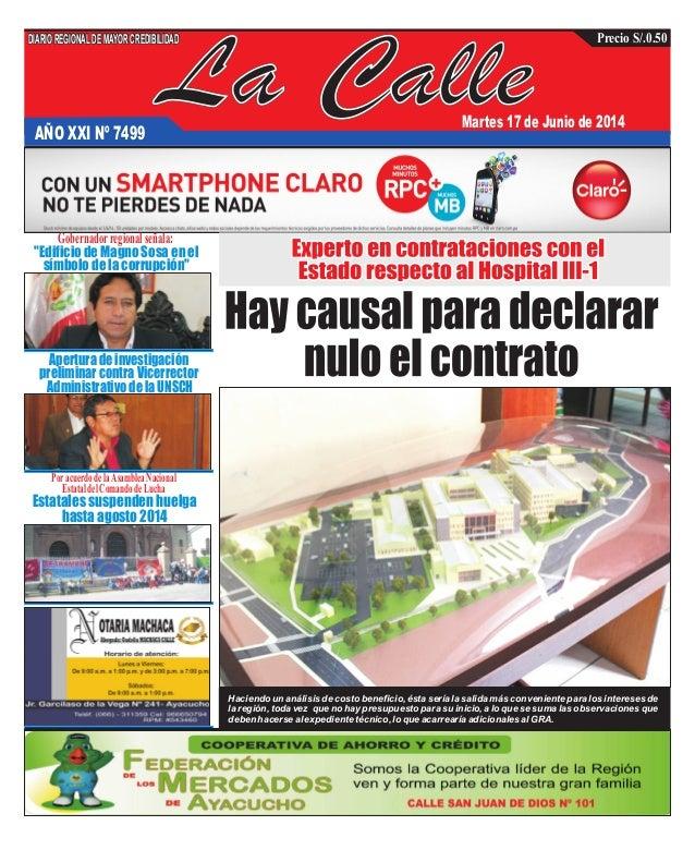 """La CalleAÑO XXI Nº 7499 Martes 17 de Junio de 2014 """"Edificio de Magno Sosa en el símbolo de la corrupción"""" Apertura de inv..."""