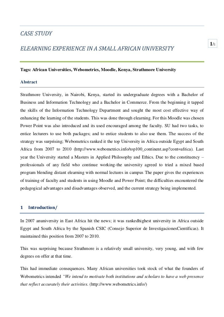 CASE STUDY<br />ELEARNING EXPERIENCE IN A SMALL AFRICAN UNIVERSITY<br />Tags: African Universities, Webometrics, Moodle, K...