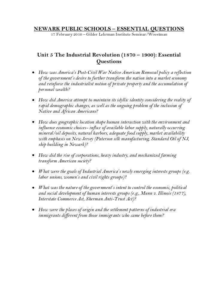 NEWARK PUBLIC SCHOOLS – ESSENTIAL QUESTIONS17 February 2010 – Gilder Lehrman Institute Seminar/Woestman<br />Unit 5 The In...