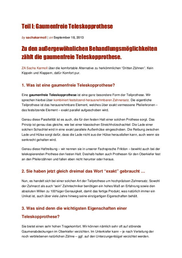 Teil I: Gaumenfreie Teleskopprothese by sachakarmoll | on September 18, 2013 Zu den außergewöhnlichen Behandlungsmöglichke...