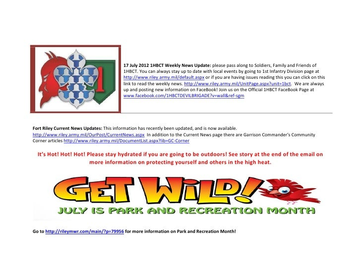 17 July 2012 1HBCT Weekly News Update: please pass along to Soldiers, Family and Friends of                               ...