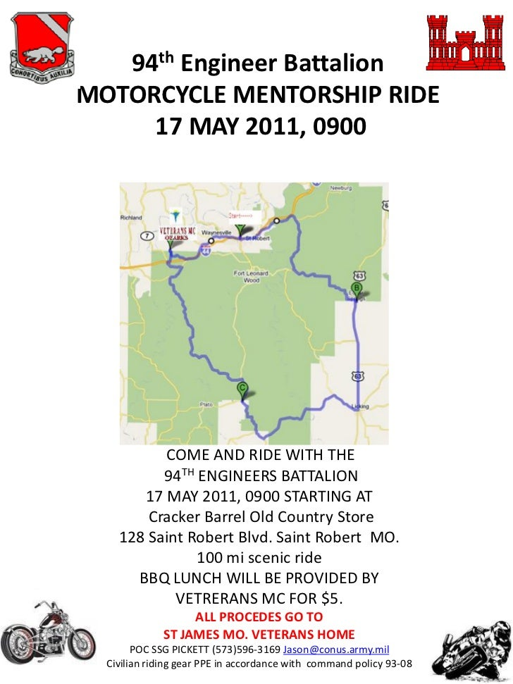 94th Engineer BattalionMOTORCYCLE MENTORSHIP RIDE     17 MAY 2011, 0900          COME AND RIDE WITH THE          94TH ENGI...