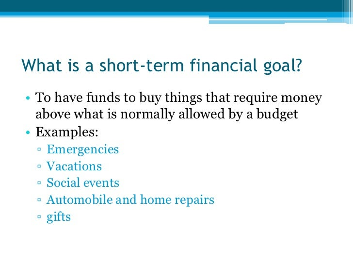 need a example of short and long term goals