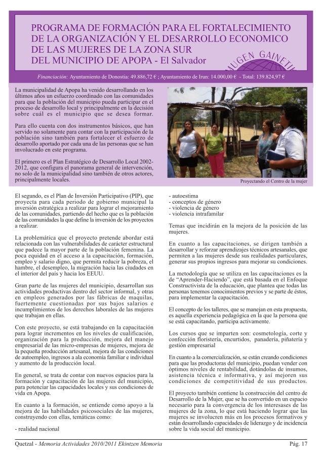 Apopa. El Salvador. Programa de formación organizativo y económico de mujeres
