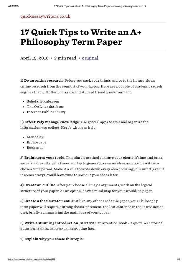 Philosophy middle school research topic