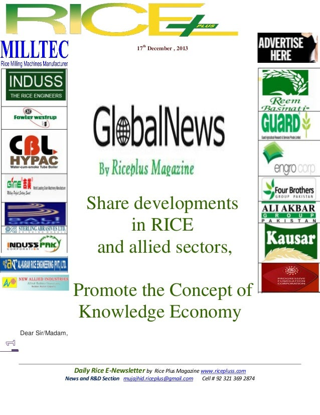 17th December , 2013  Share developments in RICE and allied sectors, Promote the Concept of Knowledge Economy Dear Sir/Mad...