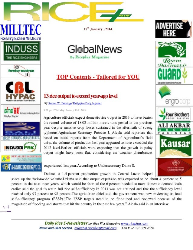17th january,2014 daily global rice e newsletter by riceplus magazine