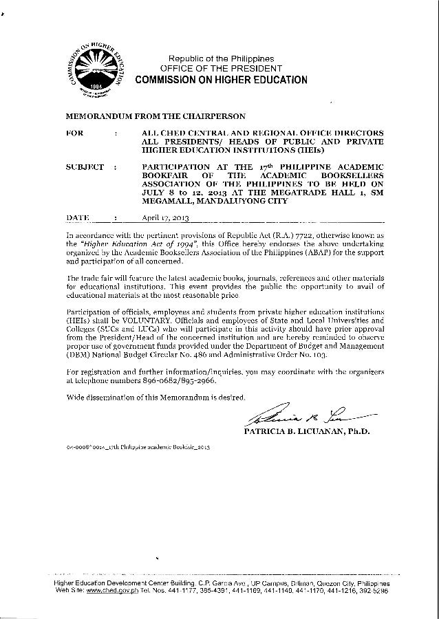 CHED memo on 17th philippine academic bookfair of the academic booksellers association of the philippines   july 8 -12, 2013