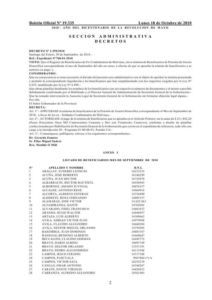 Boletín Oficial Nº 19.335                                                             Lunes 18 de Octubre de 2010         ...