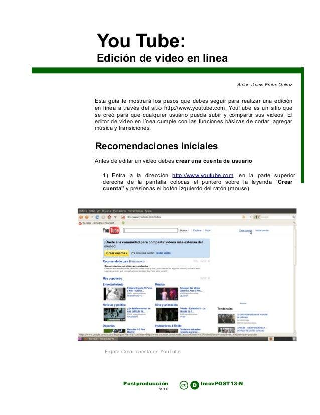 You tube  edicion de video en linea