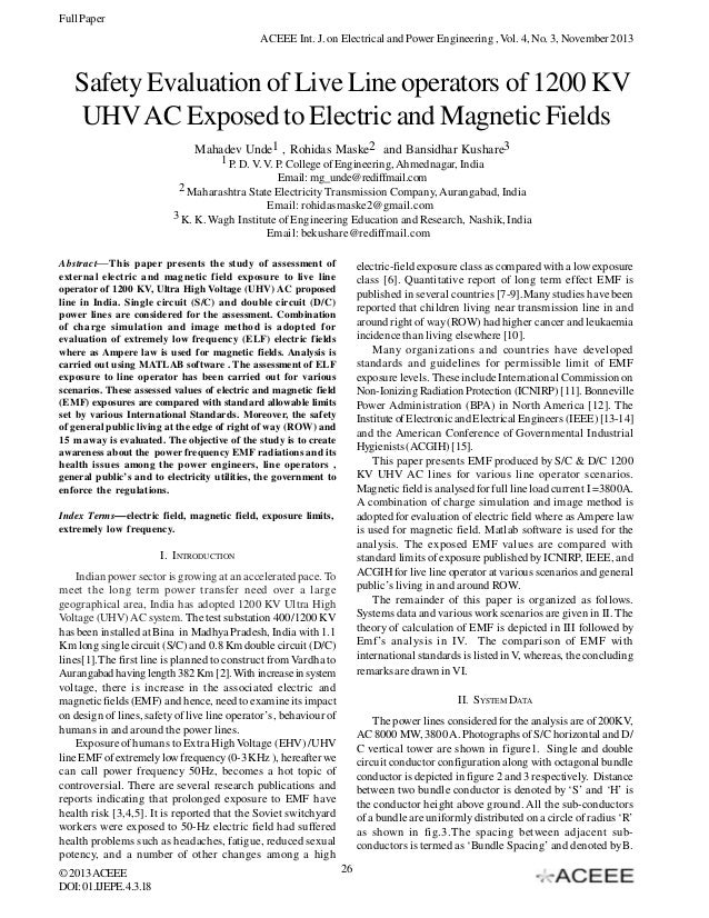 Safety Evaluation of Live Line operators of 1200 KV UHV AC Exposed to Electric and Magnetic Fields