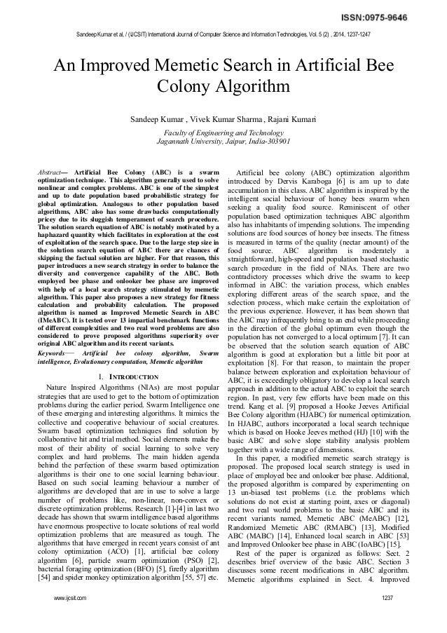 An Improved Memetic Search in Artificial Bee Colony Algorithm Sandeep Kumar , Vivek Kumar Sharma , Rajani Kumari Faculty o...